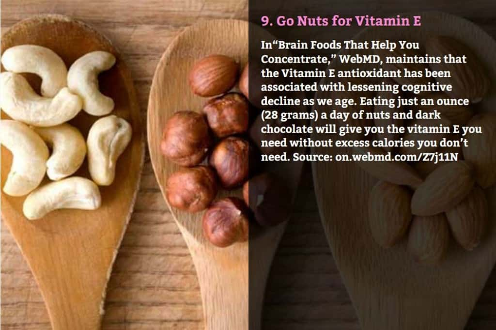 "Go Nuts for Vitamin E. In ""Brain Foods That Help You Concentrate,"" WebMD, maintains that the Vitamin E antioxidant has been associated with lessening cognitive decline as we age. Eating just an ounce (28 grams) a day of nuts and dark chocolate will give you the vitamin E you need without excess calories you don't need. Source: on.webmd.com/Z7j11N"