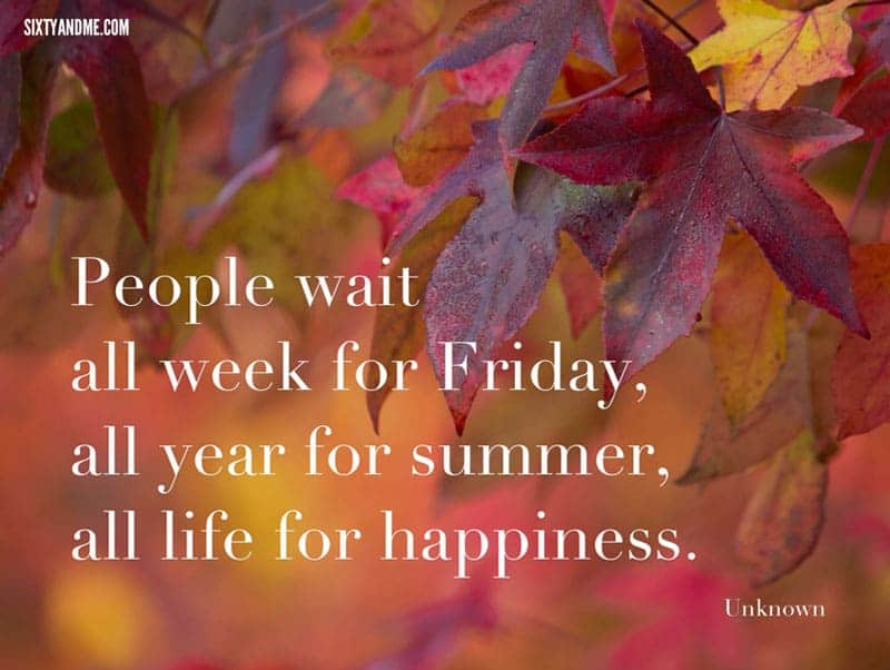 People wait all week for Friday, all year for summary, all life for happiness.