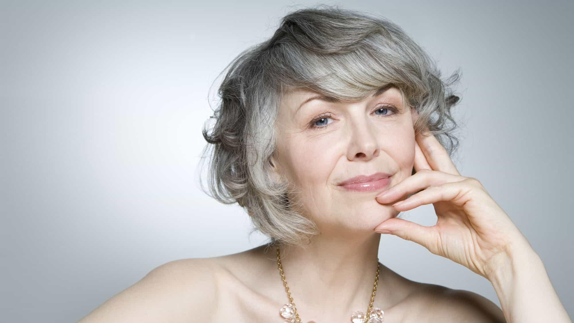 Natural look grey wigs for older ladies