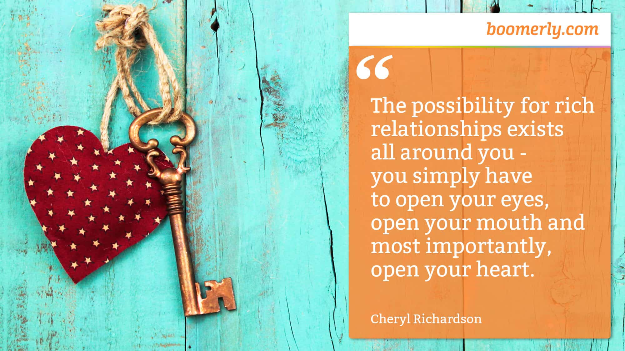 "Defeating Loneliness - ""The possibility for rich relationships exists all around you - you simply have to open your eyes, open your mouth and most importantly, open your heart."" - Cheryl Richardson"