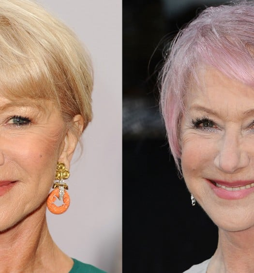 Hairstyles for women over 60 - helen mirren pink hair