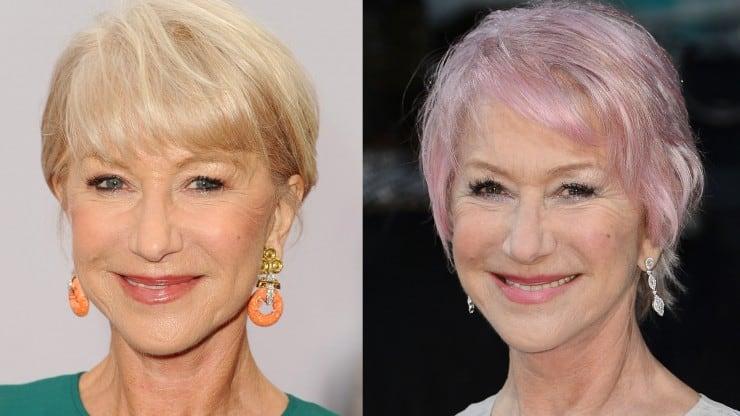 Hairstyles for women over 60 - helen mirren pink hair