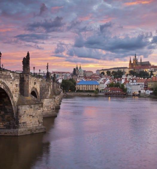 Prague Bridge at Sunset