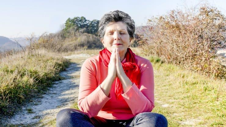 Senior woman being grateful