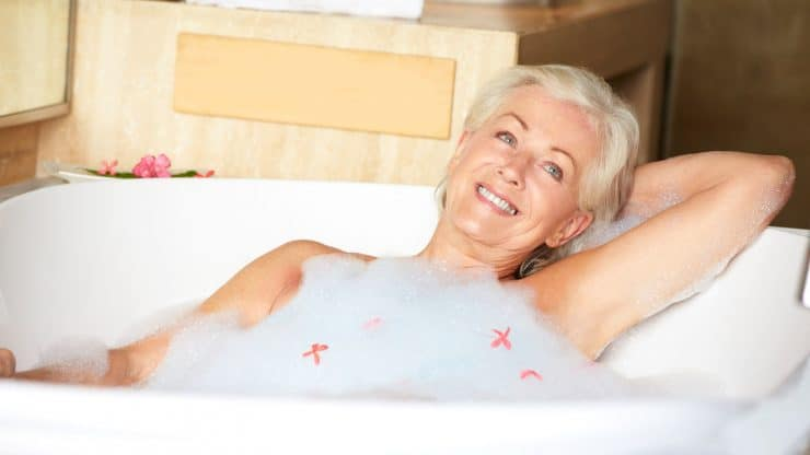 Senior woman holiday guilty pleasures