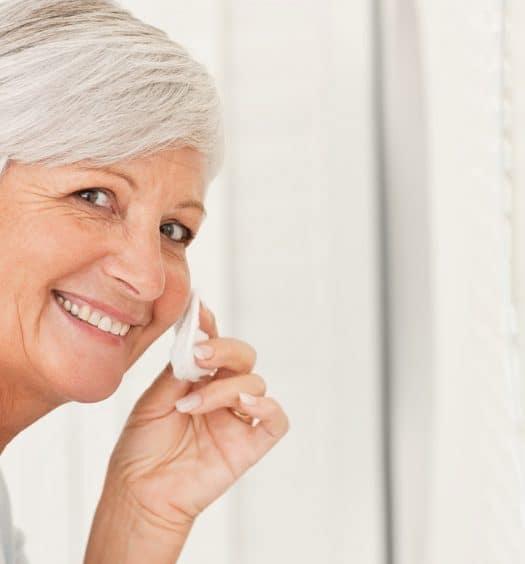 senior woman skin care