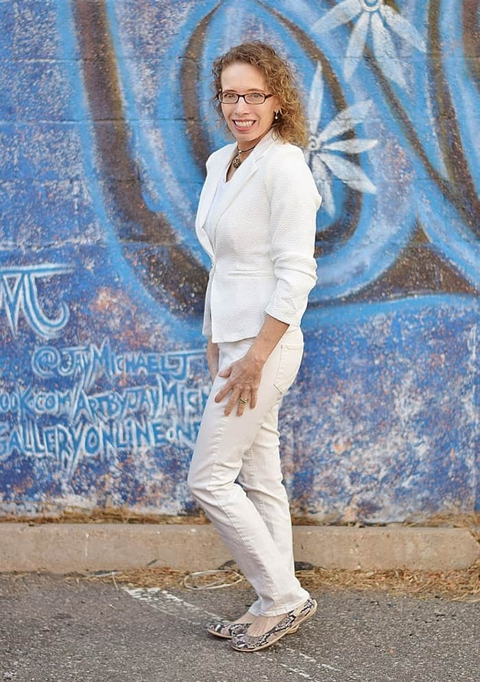 senior woman wearing white