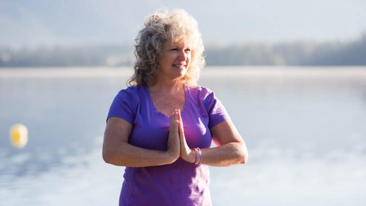 senior woman meditation yoga