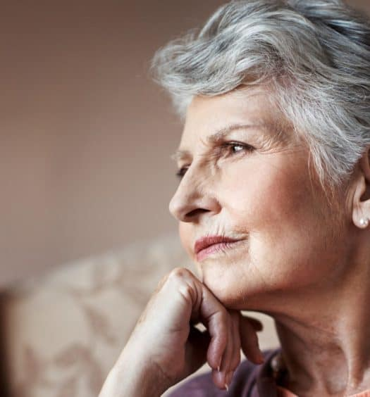 senior woman thinking living alone growing older