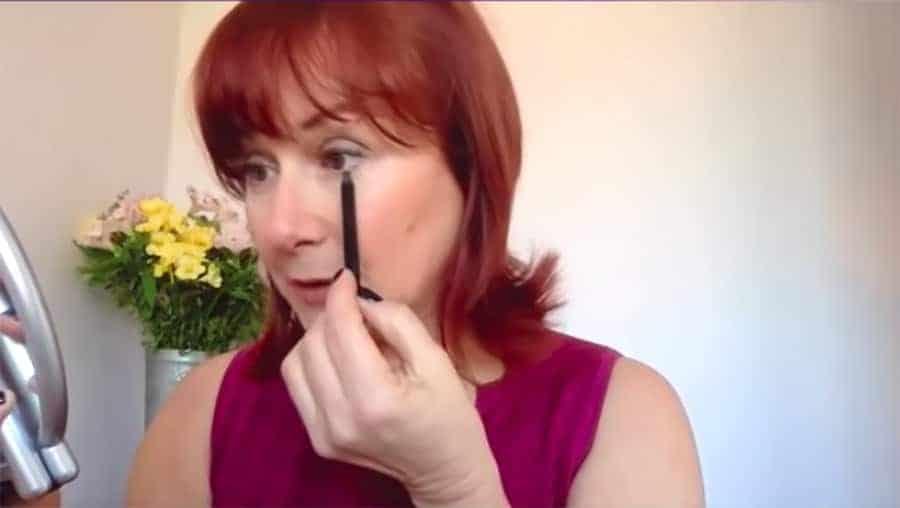 Makeup for Older Women Applying Eyeliner Below the Eyes