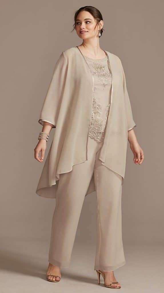 Embroidered Plus Size Three-Piece Pantsuit