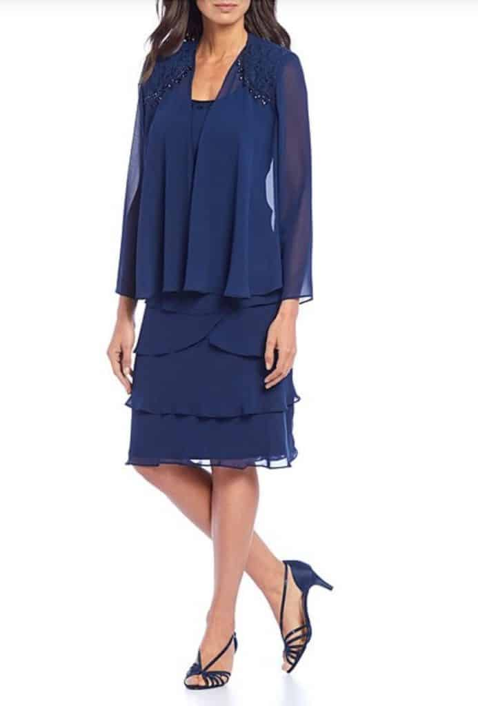 Ignite Evenings 2-Piece Embellished Tiered Jacket Dress