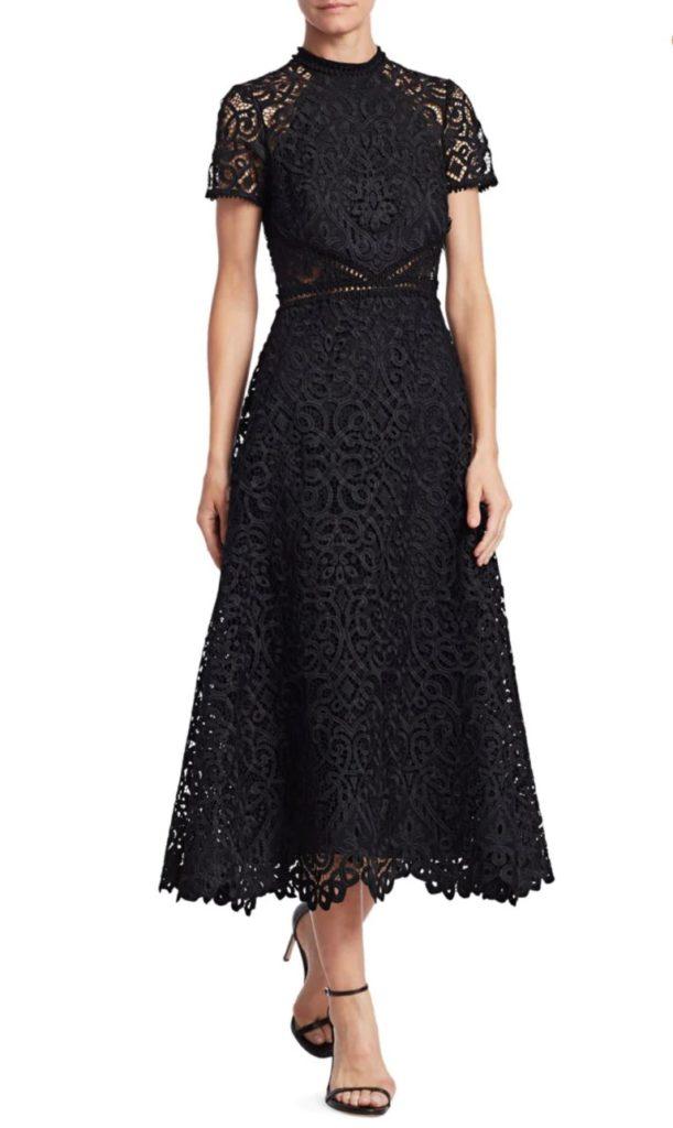 Monique Lhuillier Lace Short-Sleeve A-Line Midi Dress