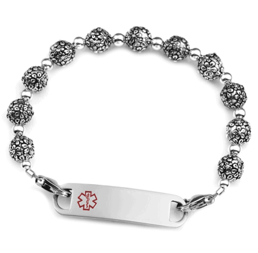 Silver Blossom Stainless Steel Beaded Medical ID Bracelet