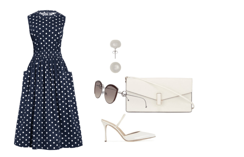 Navy Print Sleeveless Fit and Flare Dress