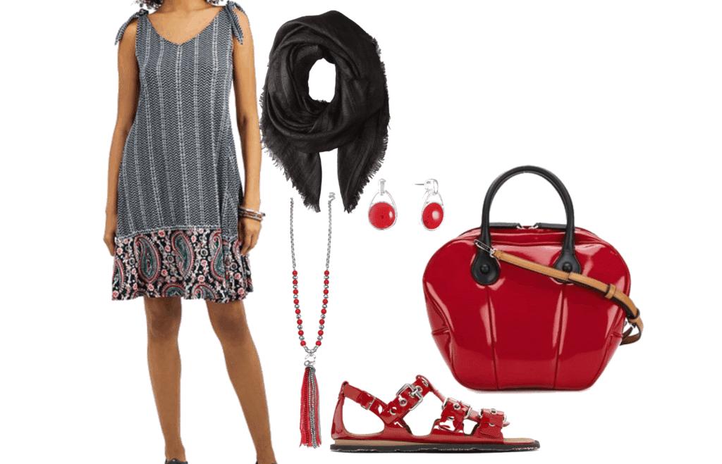 Style & Co Plus Size Printed Tie-Shoulder Dress