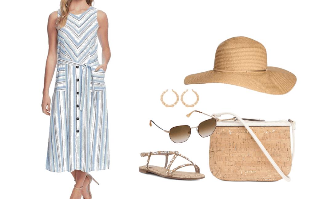 Vince Camuto Wistful Stripe A-Line Dress