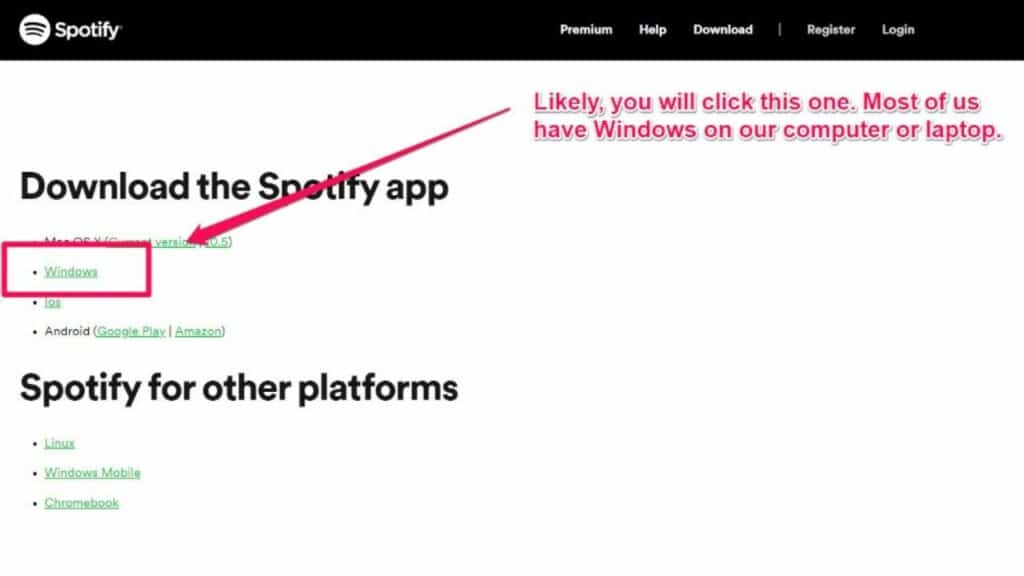 download and install Spotify