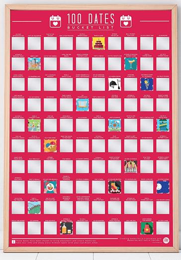 100 Dates Bucket List Scratch Poster