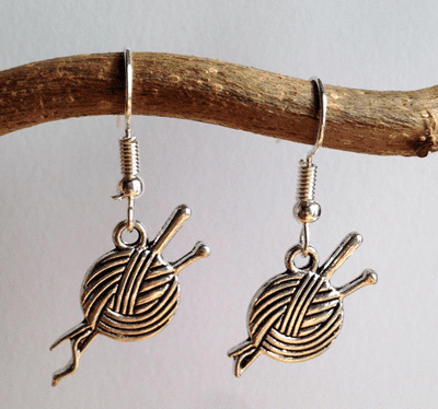 Knitting Needles and Wool Earrings