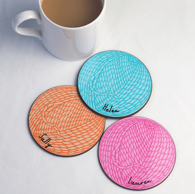 Personalized Ball of Wool Coasters
