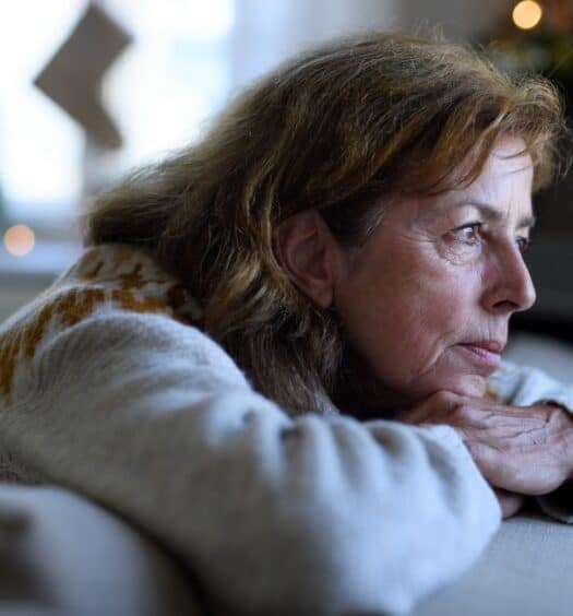 senior woman dreading the holidays