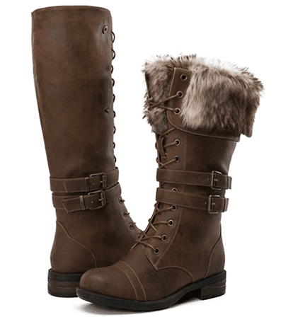 GLOBALWIN Women's Knee-High Combat Boots