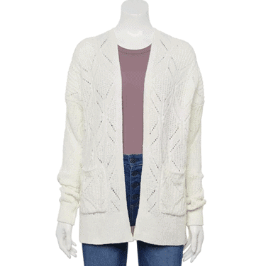 Chenille Pointelle Cardigan Sweater