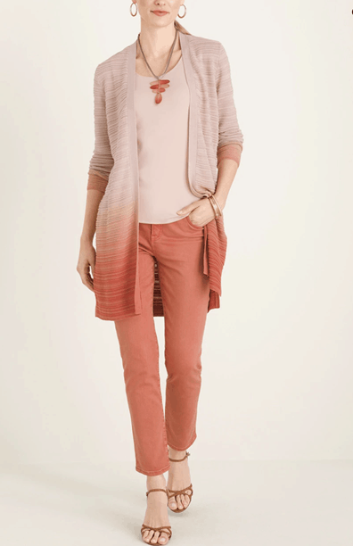 Long Ombre Open Front Cardigan