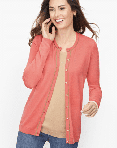Mid-length Cardigan with Tipping Detail
