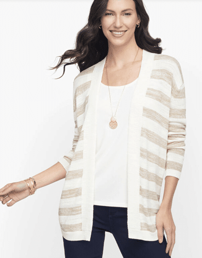 Mid-length Striped Open Front Cardigan