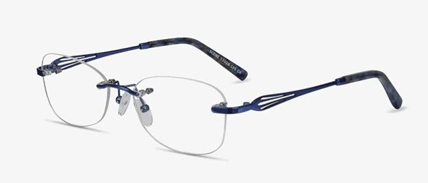 Scene Oval Blue Rimless Eyeglasses