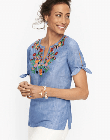 EMBROIDERED LINEN POPOVER from TALBOTS