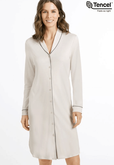 NATURAL COMFORT L/SLV BUTTON FRONT GOWN at Hanro