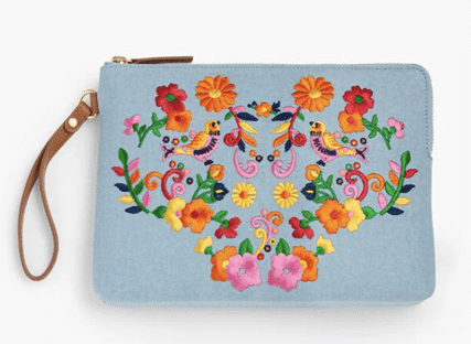 Talbots embroidery pouch