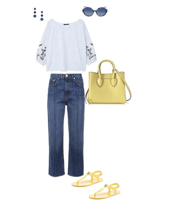 spring outfit idea yellow blue and white