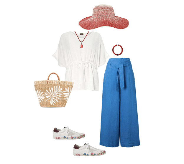 spring outfit idea white, blue