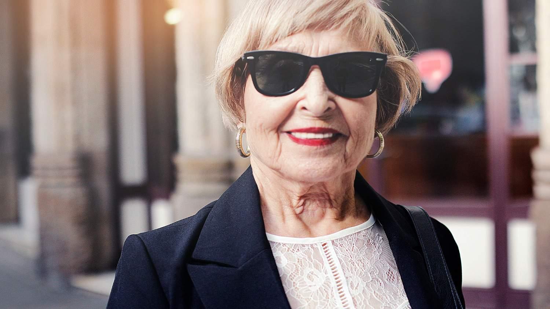 older woman lacy white shirt