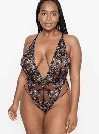 VERY SEXY Floral Embroidered Plunge Teddy