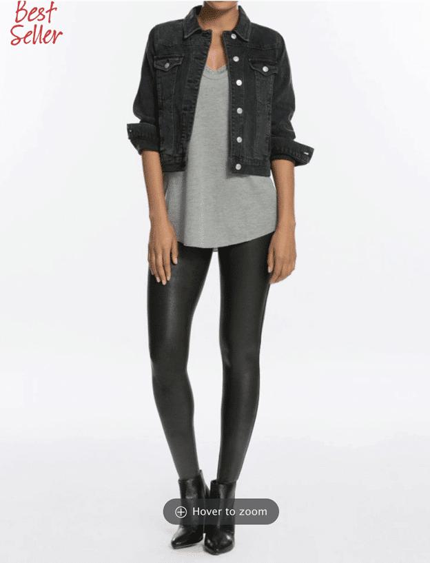 faux leather leggings spanx