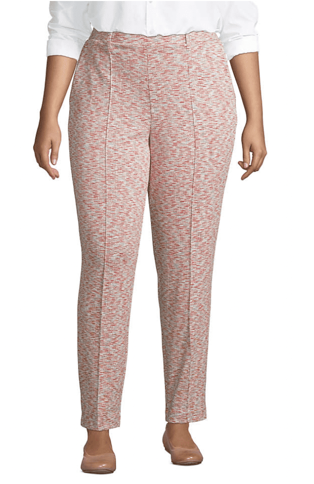 women's plus-size, sport-knit, high-rise elastic waist, pull-on, tapered trouser pants at Lands' End